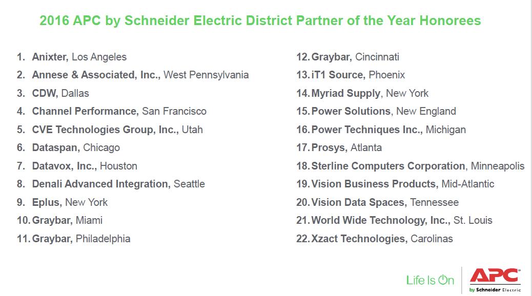 APC by Schneider Electric Announces its 2016 District